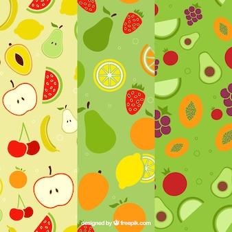 Set von drei flachen Mustern mit verschiedenen Früchten
