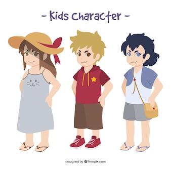 Set von drei Kinder Zeichen
