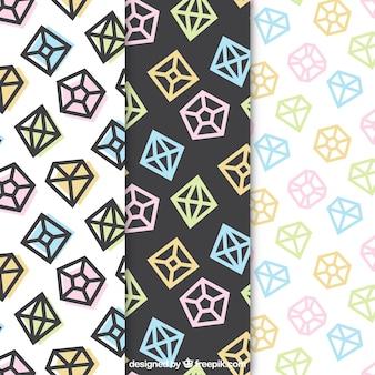 Set von drei Mustern mit flachen Diamanten
