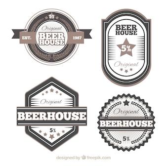 Set von eleganten Vintage-Bier-Aufkleber