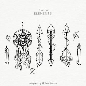 Set von ethnischen Hand gezeichneten Elementen
