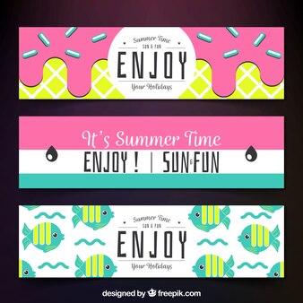 Set von farbigen Sommer Banner