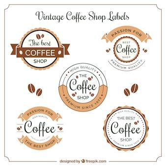 Set von fünf Kaffee-Etiketten im Vintage-Stil