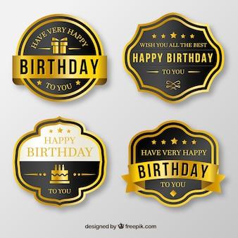 Set von goldenen Geburtstagsabzeichen