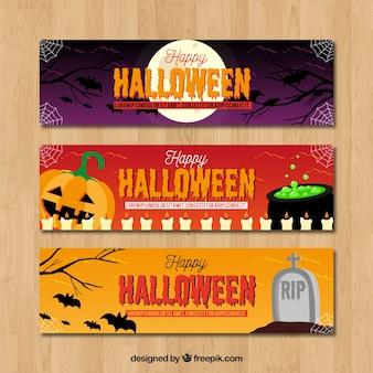 Set von Halloween-Bannern