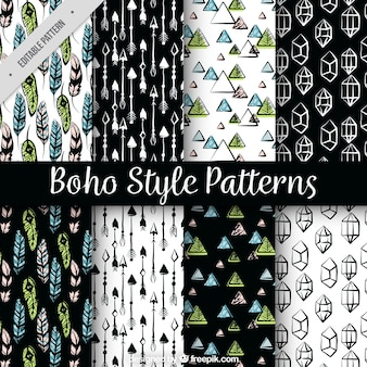Set von Hand gezeichnet Boho Muster