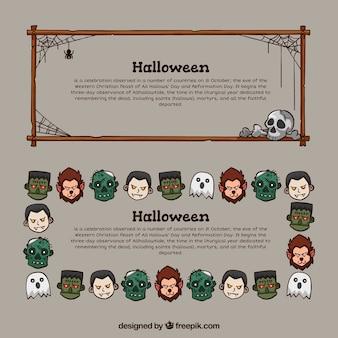 Set von Hand gezeichnet halloween Banner