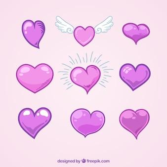 Set von Hand gezeichnete Herzen