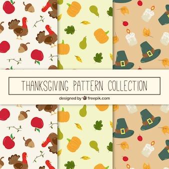Set von Hand gezeichneten Thanksgiving-Muster
