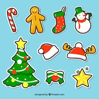 Set von Hand gezeichneten Weihnachtsaufkleber