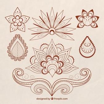 Set von Henna-Tattoos, Blumenthema