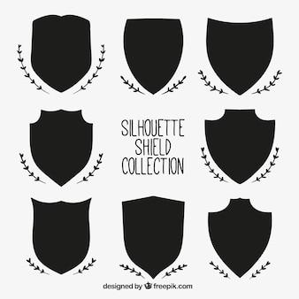 Set von heraldischen Silhouetten Schild