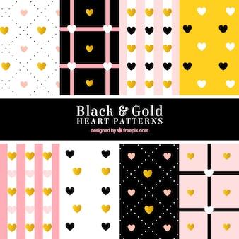 Set von Herzen Muster mit goldenen Details