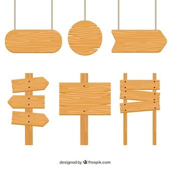 Set von Holzschildern