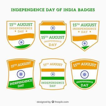 Set von Indien-Unabhängigkeitstag Retro-Abzeichen