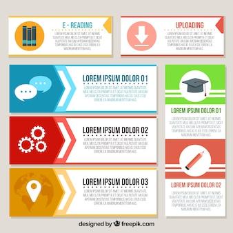 Set von infografischen Bannern mit dekorativen Gegenständen