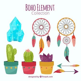 Set von Kaktus mit anderen Boho-Elementen