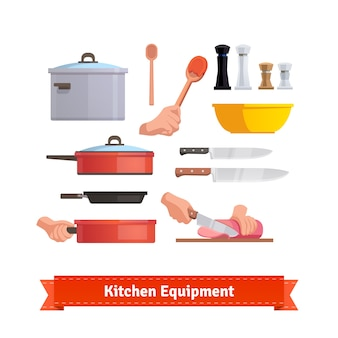 Set von Kochgeräten