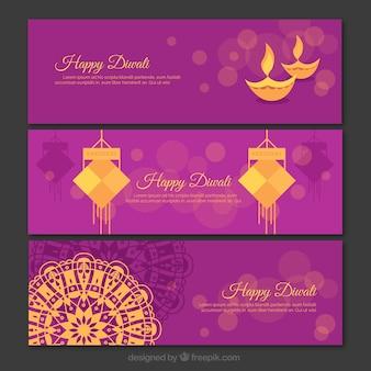 Set von lila und gold diwali Banner