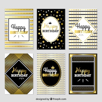 Set von luxuriösen Geburtstagskarten