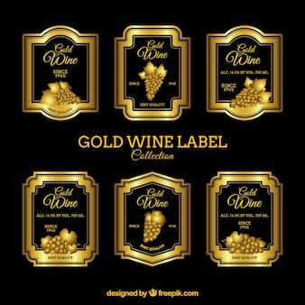 Set von luxuriösen Weinetiketten
