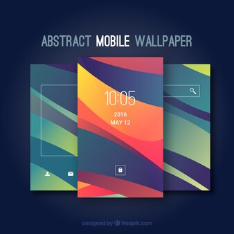 Set von mobilen Tapeten mit abstrakten Formen