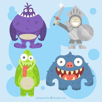 Set von Monstern und Rüstung Ritter in flaches Design