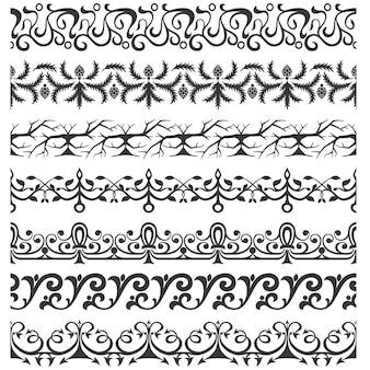 Set von nahtlosen verzierten Pinsel