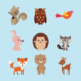 Set von niedlichen Illustration von Waldtieren