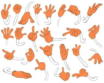 Set von orangefarbenen Händen