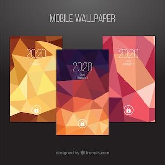 Set von polygonalen mobilen Tapeten