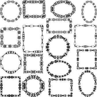 Set von schwarzen Rahmen mit Ornamenten und wirbelt