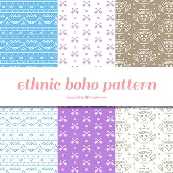 Set von sechs Boho Muster in flacher Bauform