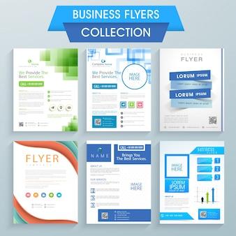 Set von sechs professionellen Flyern Design für Ihr Unternehmen