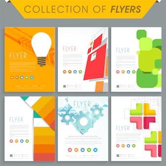 Set von sechs professionellen Flyern oder Vorlagen mit abstrakten Design für Business-Konzept