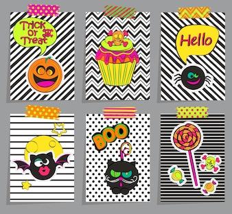 Set von stilvollen Halloween-Karten.