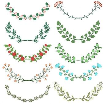 Set von Teiler in der Natur Design Bunte Blumen Zweige Vektor-Illustration