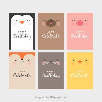 Set von Tierkarten mit Gesichtern