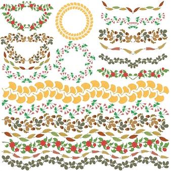 Set von Vektor bunte Blumenschmuck Alle Pinsel enthalten