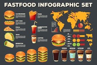 Set von Vektor Fast-Food-Infografik-Elemente, Icons