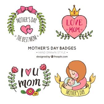 Set von vier handgezeichneten Aufklebern für den Tag der Mutter