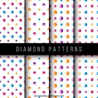 Set von vier Mustern mit farbigen Diamanten