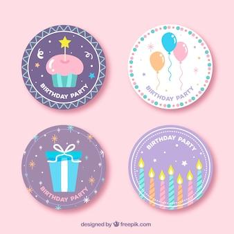 Set von vier runden Geburtstag Aufkleber