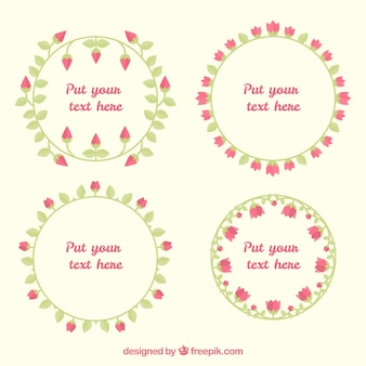 Set von vier runden Rahmen mit Rosen in flachem Design