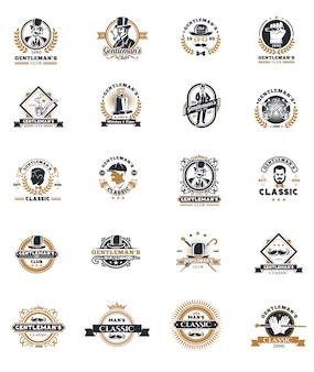 Set von Vintage Gentleman Embleme, Etiketten.