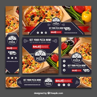 Set von Vintage Pizza Banner
