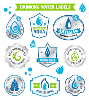 Set von Wassertropfen Etikett