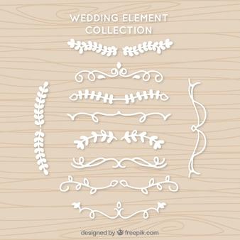 Set von weißen Hochzeit Ornamente