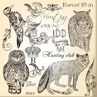 Set von wilden Tieren dargestellt