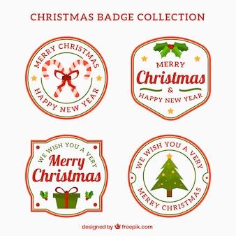 Set Weihnachtsabzeichen im Retro-Stil